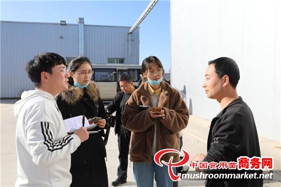 大学生采访实践团参观众兴菌业公司金针菇种植基地