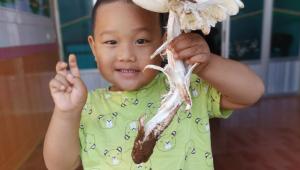 云南省永勝縣男子清晨上山撿到雞樅菌 家中孩童與菌子歡樂留影